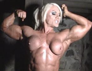 British muscle porn star Lisa Cross is in our dungeon and has only one mission - to make you worship her muscle.