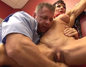 Muscular pornstar Anna Phoenixxx continues her bizarre examination - having moved on to more advanced trials like getting muscles worshipped, her big clit sucked, and her wet pussy finger fucked. Things really kick into high gear when Anna begins squirting all over the floor making a HUGE mess. No one seems to mind however.