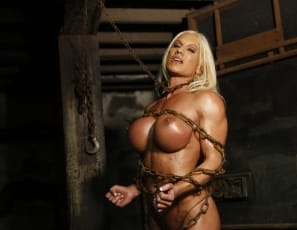 Female muscle pornstar Ashlee Chambers finds herself bound in our dungeon. Of course, looking at her power biceps and bulging pecs it makes you wonder who is really in control of the situation. Ashlee is ripped and vascular and you'll enjoy watching her struggle against her chain restraints.