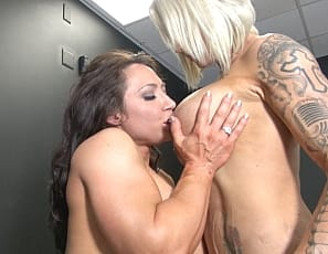 Brandimae is no longer bound, but that doesn't mean that tattooed muscular pornstar Dani Andrews is done with her. Dani pleases Brandimae with her silver sex toy and Brandimae enjoys muscle worshiping Dani's big pecs, powerful biceps and tight abs.