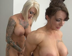 Naked female bodybuilder BrandiMae gets tied up and tickled by Tattooed femme domme Dani Andrews and gets the muscles of her pecs, vascular biceps, legs, glutes and ripped abs worshiped. Watch the bondage and tickle torture close up.