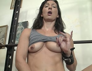 After she's unchained, tattooed Wenona loves posing to show off her muscular biceps, abs, legs and glutes, and enjoys muscle worship, but before she works out, she has to masturbate - while you watch in close-up.
