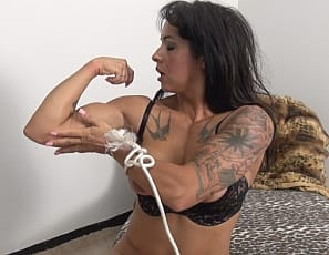 Bobbi has found herself tied up again, however she has managed to get her hands free. We all know what that means! Bobbi gets so turned on being restrained that she can't keep herself from burying her fingers deep inside of her wet pussy. She finger fucks herself and squirts all over the place. This video is NOT to be missed!