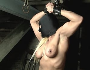 Muscle woman tied up