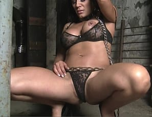 Leena's in the dungeon in panties, with a leash and collar on. But once she uses the strong muscles of her pecs, biceps and legs to get free, she's nobody's pet. Watch her struggle in close-up.
