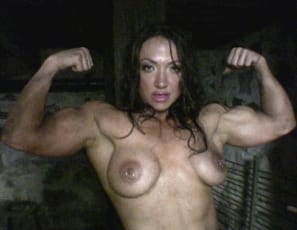 """Look at these big-ass muscles,"" nude, dirty-talking bodybuilder Brandimae says from the SheMuscle® dungeon as she brandishes a big black hose, flexing her biceps, letting the water run all over her body and legs and telling you just what the hose and water remind her of and what she'd do to you with them. Too dirty for SheMuscle@? You decide."